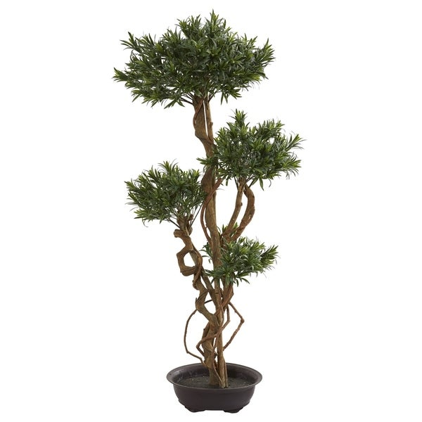 Nearly Natural 4.5-foot Bonsai Styled Podocarpus Artificial Tree
