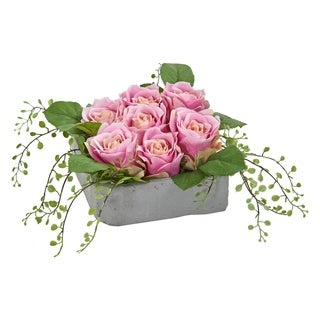 Nearly Natural Rose Artificial Arrangement in Square Ceramic Vase