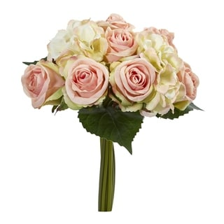 Nearly Natural 12-inch Rose and Hydrangea Bouquet Artificial Flower (Set of 6)