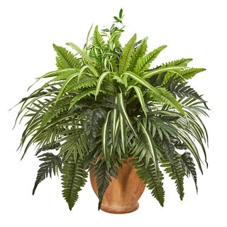 Nearly Natural 23-inch Mixed Greens and Fern Artificial Plant in Terracotta Planter