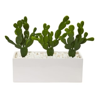 Nearly Natural 11-inch Cactus Succulent Artificial Plant in Glazed White Vase