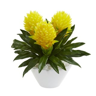 Nearly Natural 17-inch Ginger Artificial Plant in White Vase