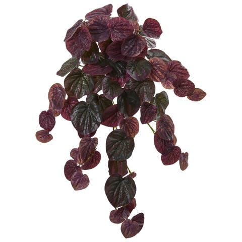 Nearly Natural 25-inch Peperomia Hanging Bush Artificial Plant (Set of 6)