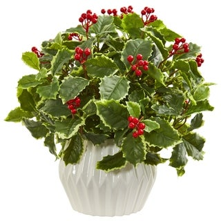 Nearly Natural 15-inch Holly Leaf Artificial Plant