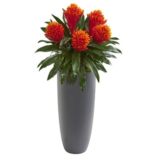 Nearly Natural Bromeliad Artificial Plant in Grey Planter