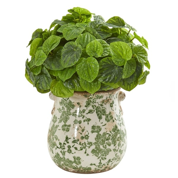 Nearly Natural Real Touch Peperomia Artificial Plant in Floral Vase