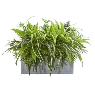 Nearly Natural Mixed Greens and Fern Artificial Arrangement in Stone Planter