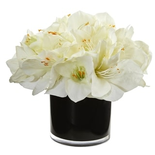 Nearly Natural Black/White Amaryllis Artificial Arrangement in Glossy Cylinder