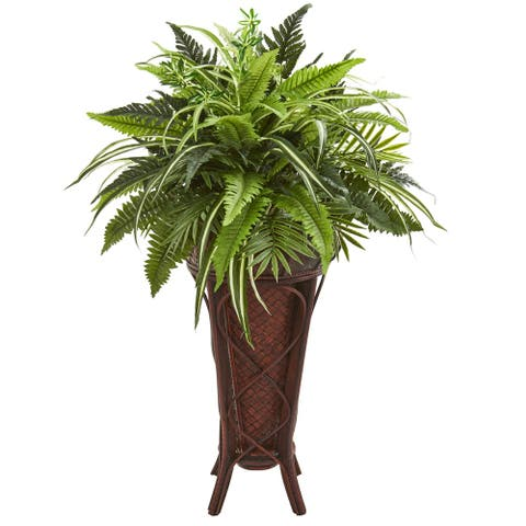 Nearly Natural 32-inch Mixed Greens and Fern Artificial Plant in Decorative Stand