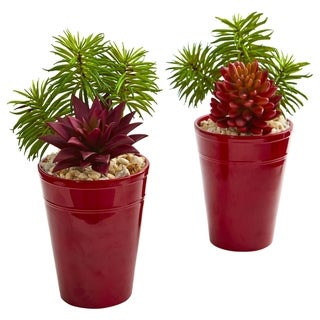 Nearly Natural Mixed Succulents Artificial Plant (Set of 2)
