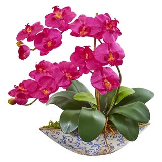 Nearly Natural Phalaenopsis Orchid Artificial Arrangement in Vase