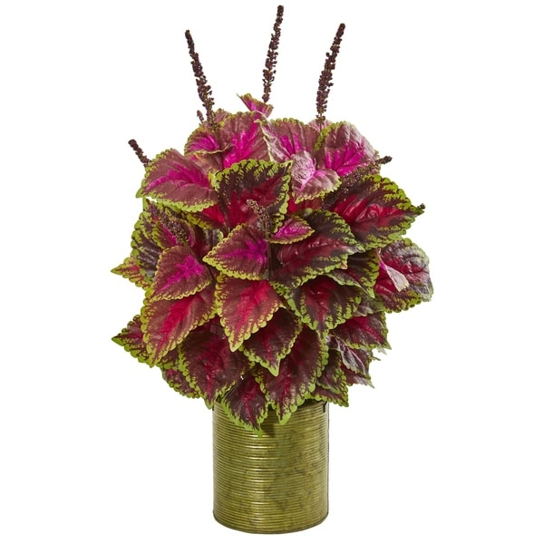 Nearly Natural 24-inch Coleus Artificial Plant in Green Planter
