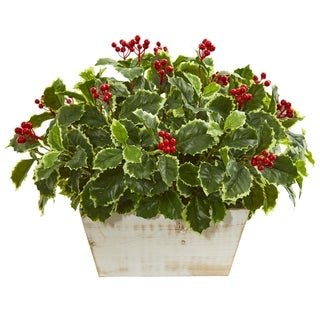 Nearly Natural Variegated Holly Leaf Artificial Plant
