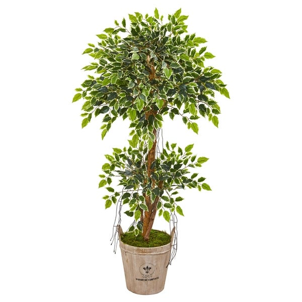 Nearly Natural Variegated Ficus 4.5-foot Artificial Tree in Farmhouse Planter