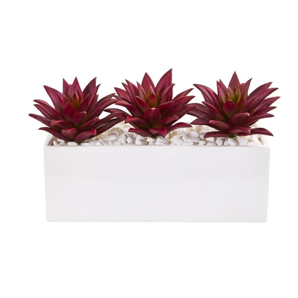 Nearly Natural White/Burgundy Triple Agave Succulent Artificial Plant in Vase