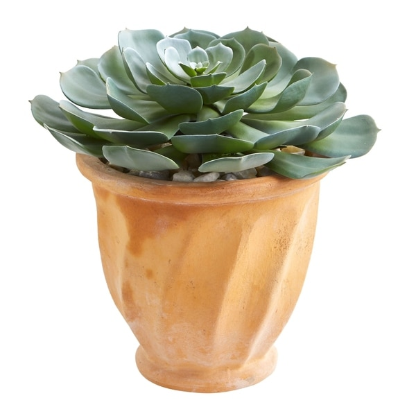 Nearly Natural 13-inch Giant Echeveria Succulent Artificial Plant in Terra Cotta Planter