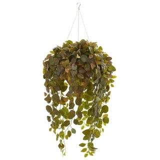 Nearly Natural Fittonia Real Touch Artificial Plant in Hanging Cone Basket