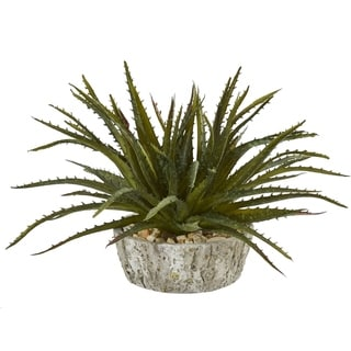 Nearly Natural Green 9-inch Aloe Succulent Artificial Plant in Weathered Oak Resin Planter