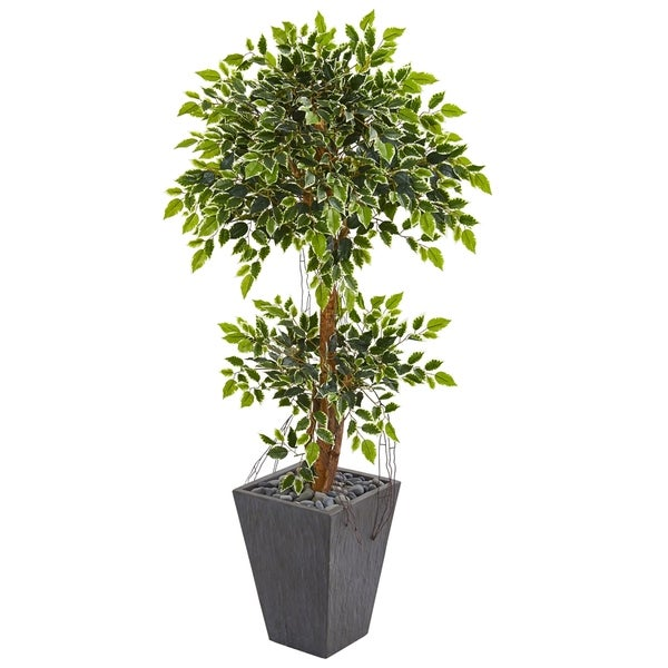 Nearly Natural Variegated Ficus 5-foot Artificial Tree in Slate Planter