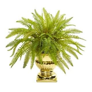 Fern in Gold Urn 20-inch Artificial Plant
