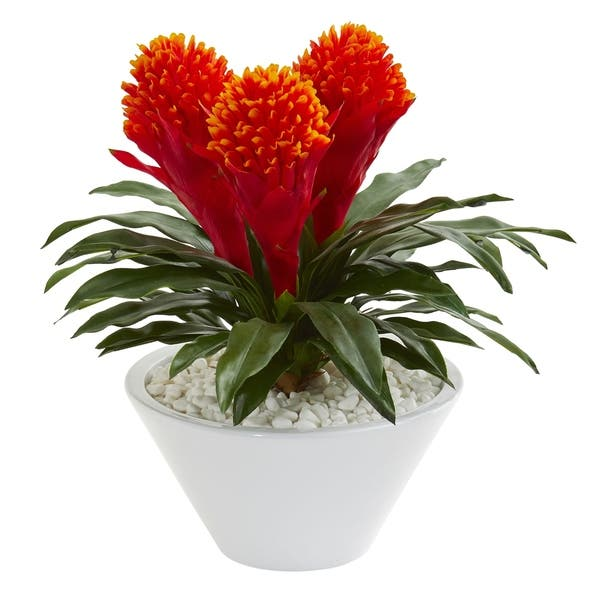 Nearly Natural 17 Inch Bromeliad Artificial Plant In White Vase Overstock 26039797