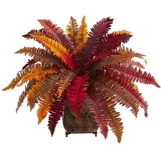 Nearly Natural Autumn Boston Fern Artificial Plant in Metal Planter