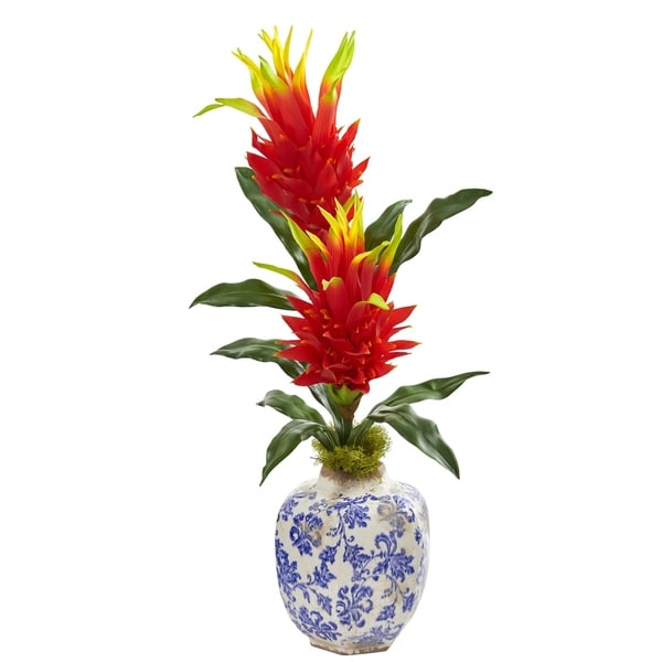 Nearly Natural 29-inch Dragon Fruit Flower Artificial Plant in Marine Print Vase