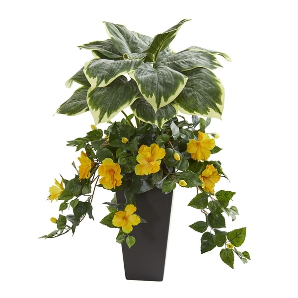 Shop Nearly Natural Hosta And Hibiscus Green And Yellow 32 Inch