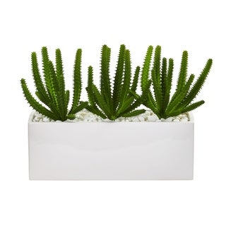 Nearly Natural Finger Cactus Artificial Plant in White Vase