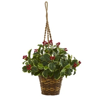 Nearly Natural 26-inch Variegated Holly Artificial Plant Hanging Basket