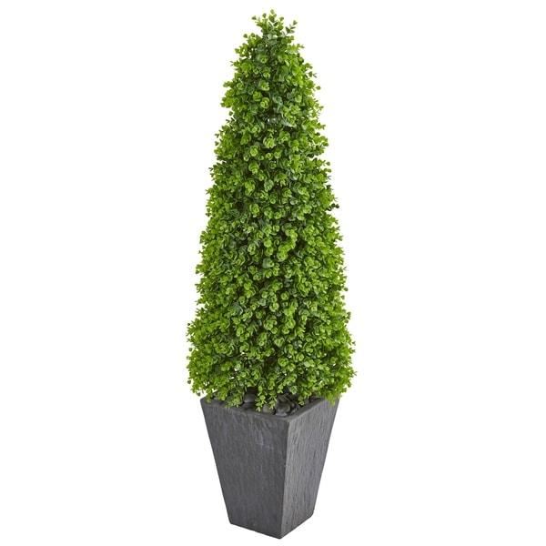 Nearly Natural 57-inch Eucalyptus Topiary Artificial Indoor/ Outdoor Tree in Slate Planter