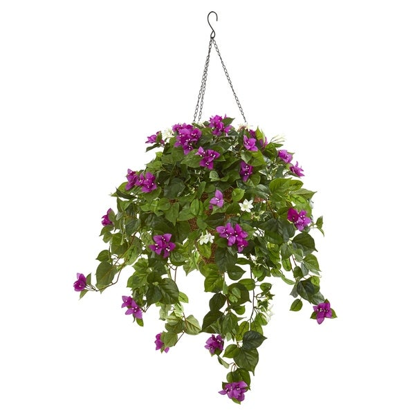 Nearly Natural Mixed Stephanotis and Bougainvillea Artificial Plant in Hanging Cone
