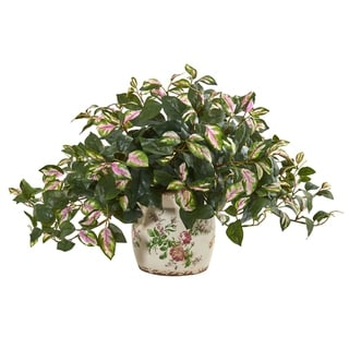 Nearly Natural Hoya Artificial Plant in Floral Print Planter