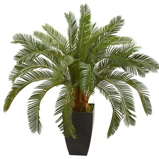 Nearly Natural 30-inch Cycas Artificial Plant in Black Vase