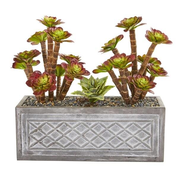 Nearly Natural 23-inch Echeverria Succulent Artificial Plant in Stone Planter
