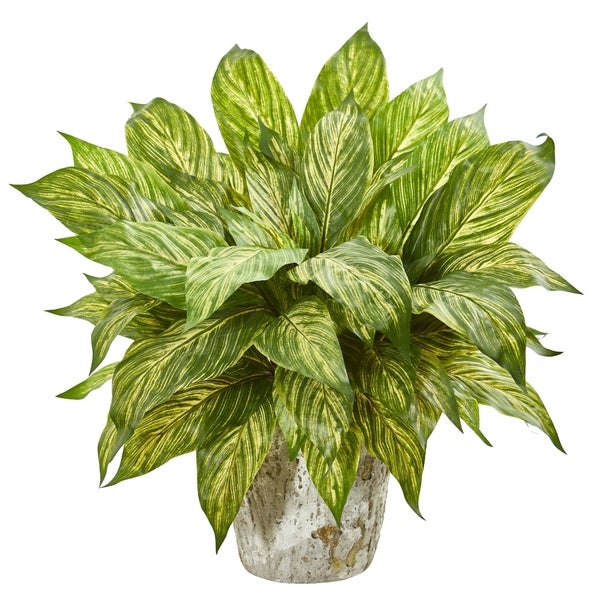 Nearly Natural Musa Leaf Artificial Plant in Weathered Oak Planter