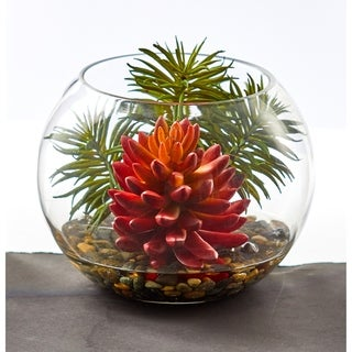 Nearly Natural Succulent Artificial Plant in Round Vase
