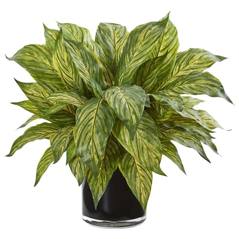 Nearly Natural Musa Leaf Artificial Plant in Glossy Black Ceramic Vase