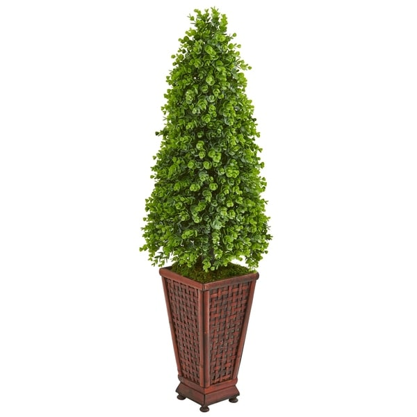 Nearly Natural Eucalyptus Cone Topiary 4-foot Artificial Tree in Decorative Planter