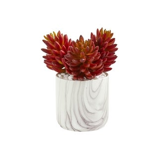 Nearly Natural 10-inch Succulent Artificial Plant in Marble-finish Vase