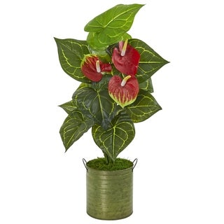 Nearly Natural Real Touch 29-inch Anthurium Artificial Plant in Metal Planter