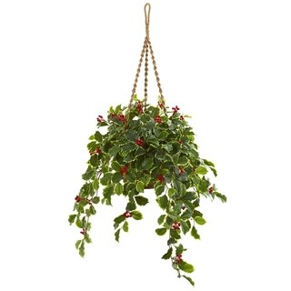 Nearly Natural 40-inch Variegated Holly with Berries Real Touch Artificial Plant in Hanging Basket