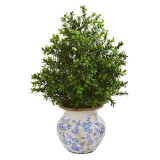 Nearly Natural Boxwood Artificial Plant in Decorative Vase