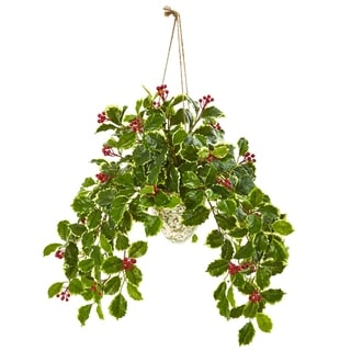 Nearly Natural Real Touch Variegated Holly Berry Artificial Plant in Hanging Vase