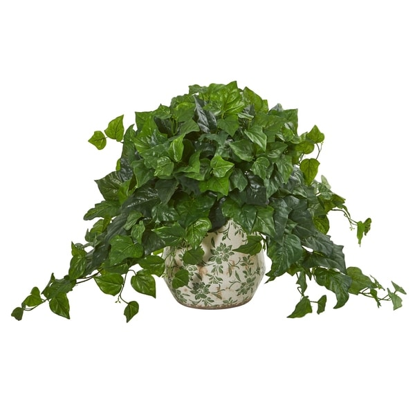 Nearly Natural London Ivy 23-inch Real Touch Artificial Plant in Floral Pattern Vase