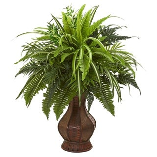 Nearly Natural Mixed Greens and Fern Artificial Plant in Decorative Planter