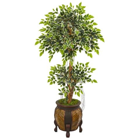 Nearly Natural 59-inch Variegated Ficus Artificial Tree in Decorative Planter