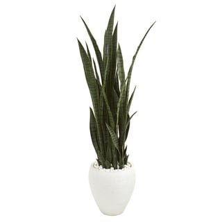 Nearly Natural Sansevieria 51-inch High Artificial Plant in White Ceramic Planter