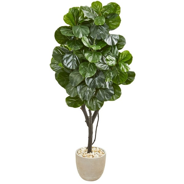 Nearly Natural Fiddle Leaf Fig 67-inch Artificial Tree in Sand Stone Planter