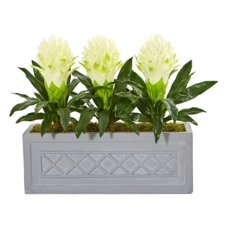 Nearly Natural Bromeliad Artificial Plant in Stone Planter